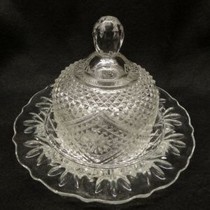 Avon Clear Glass Round Scalloped Butter Dish W/Lid